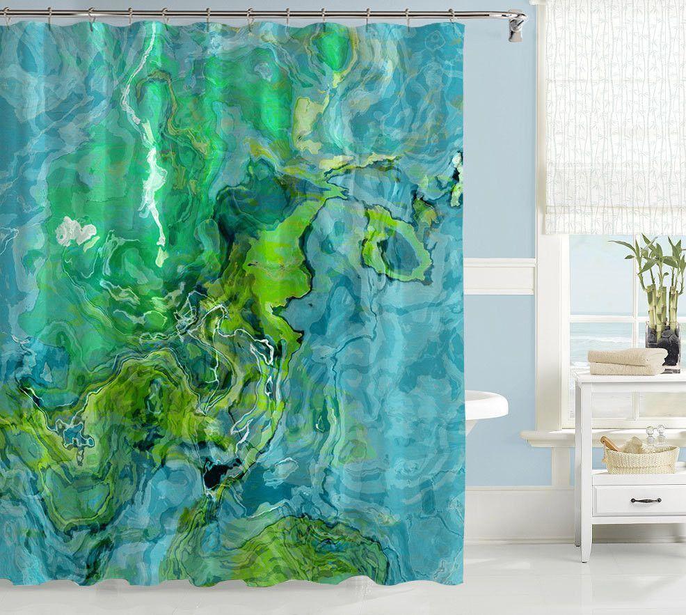 Abstract Art Shower Curtain Aqua And Green Bathroom Decor