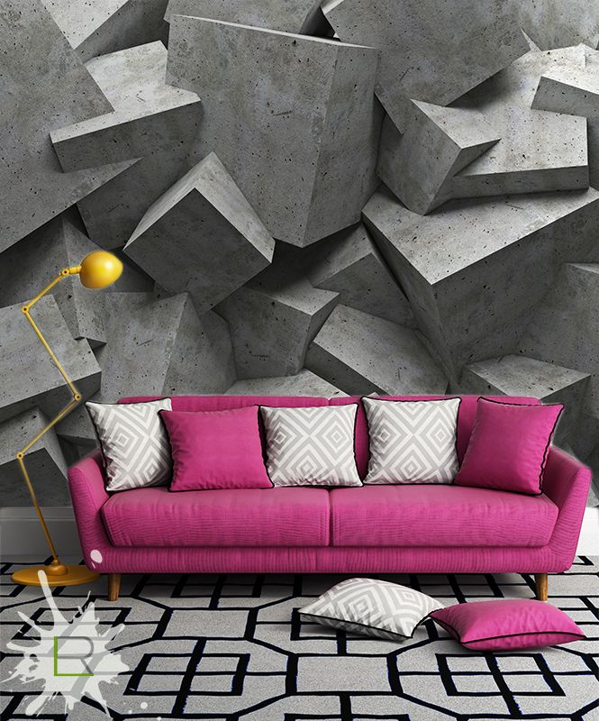The couch stands out even with the busy backround id1750 for Murales decoracion interiores