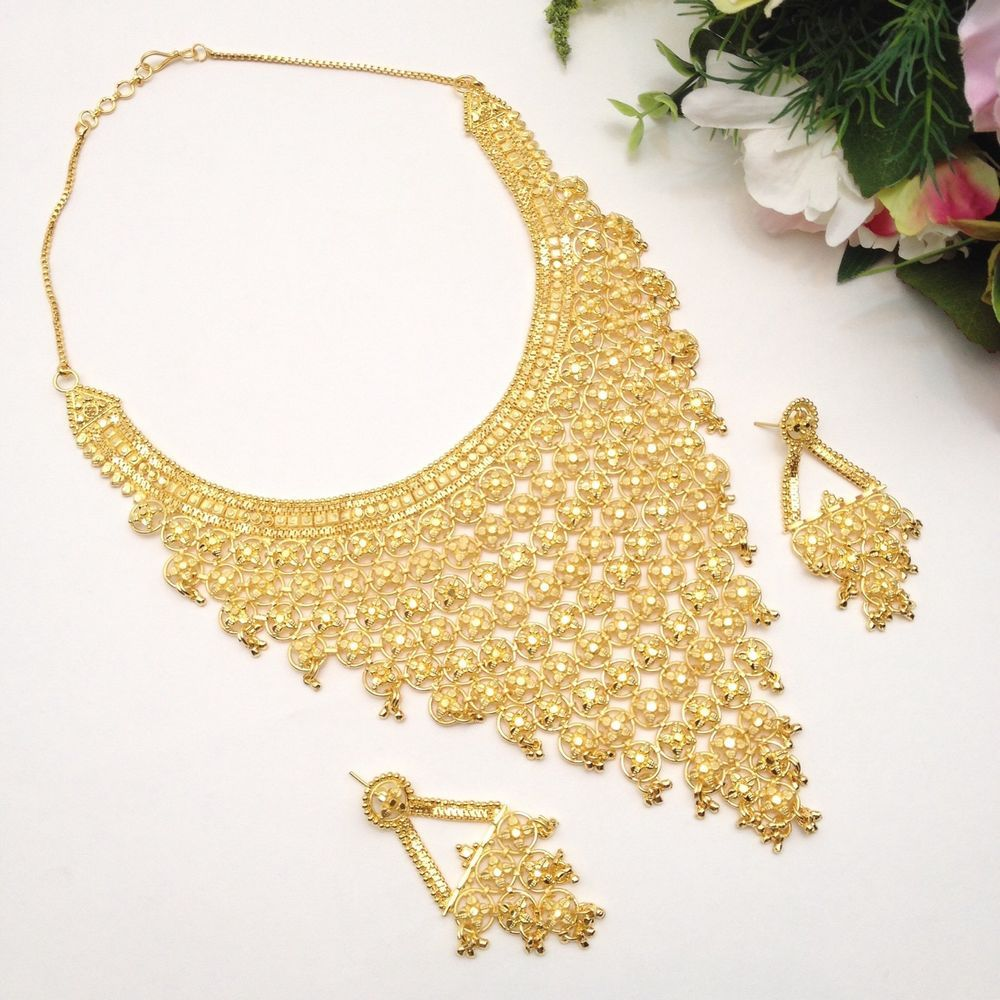 Indian Asian Bridal Jewellery Party Ethnic Wear 22ct Gold Plated Necklace Set in Jewellery u0026 Watches Ethnic u0026 Tribal Jewellery Asian | eBay!  sc 1 st  Pinterest & Indian Asian Bridal Jewellery Party Ethnic Wear 22ct Gold Plated ...