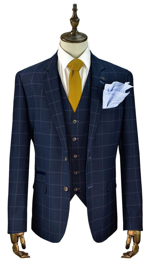 67b9d1eb2356 Cavani Macy Men's New 3 Piece Suits Check Peaky Blinder Suit Navy sizes  36-50 #Cavani #SingleBreastedSuit