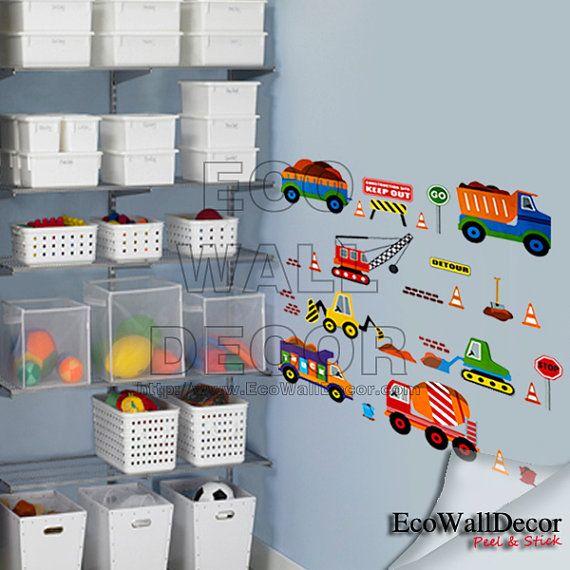 PEEL and STICK Removable Vinyl Wall Sticker Mural Decal Art - Cars in Traffic III Trucks Version