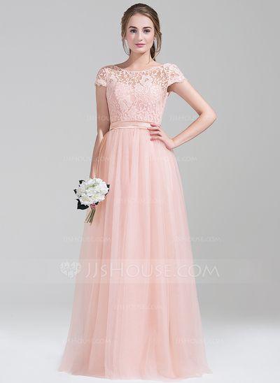 [€ 130.78] A-Linie/Princess-Linie U-Ausschnitt Bodenlang Tüll Spitze Brautjungfernkleid mit Schleife(n) (007072802) #lacebridesmaids