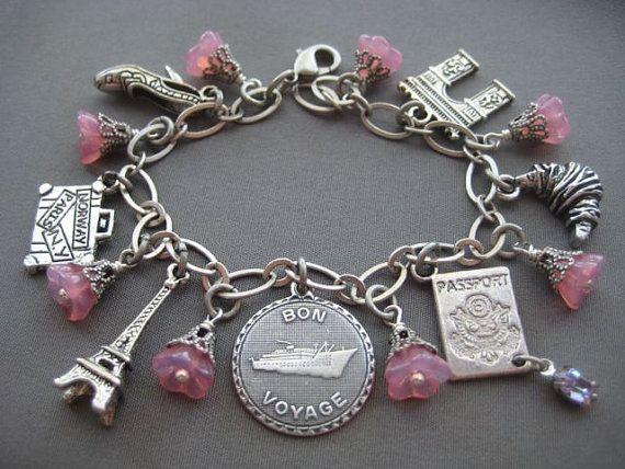 Bon Voyage Paris Charm Bracelet Jewelry Travel Eiffel Tower Gifts For Travelers Pink