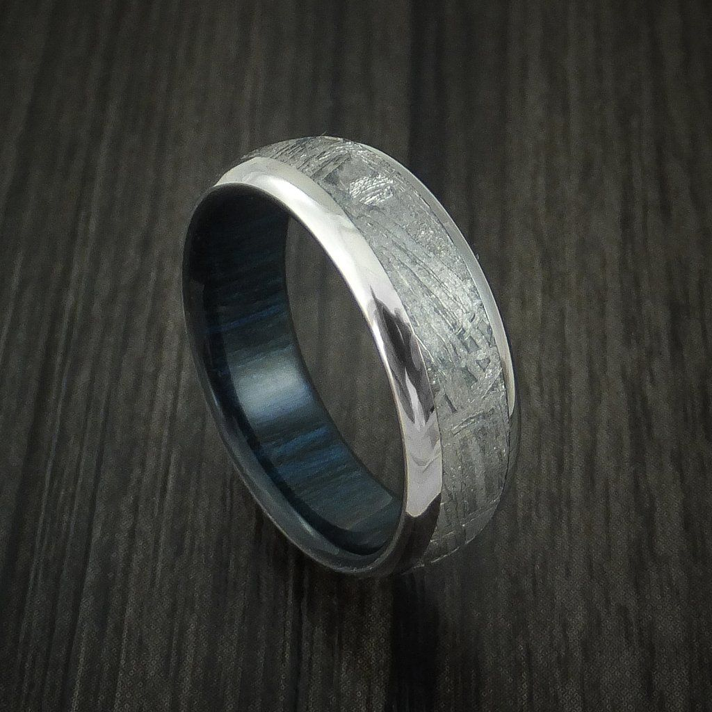 Titanium and Gibeon Meteorite Band with Blueberry Wood