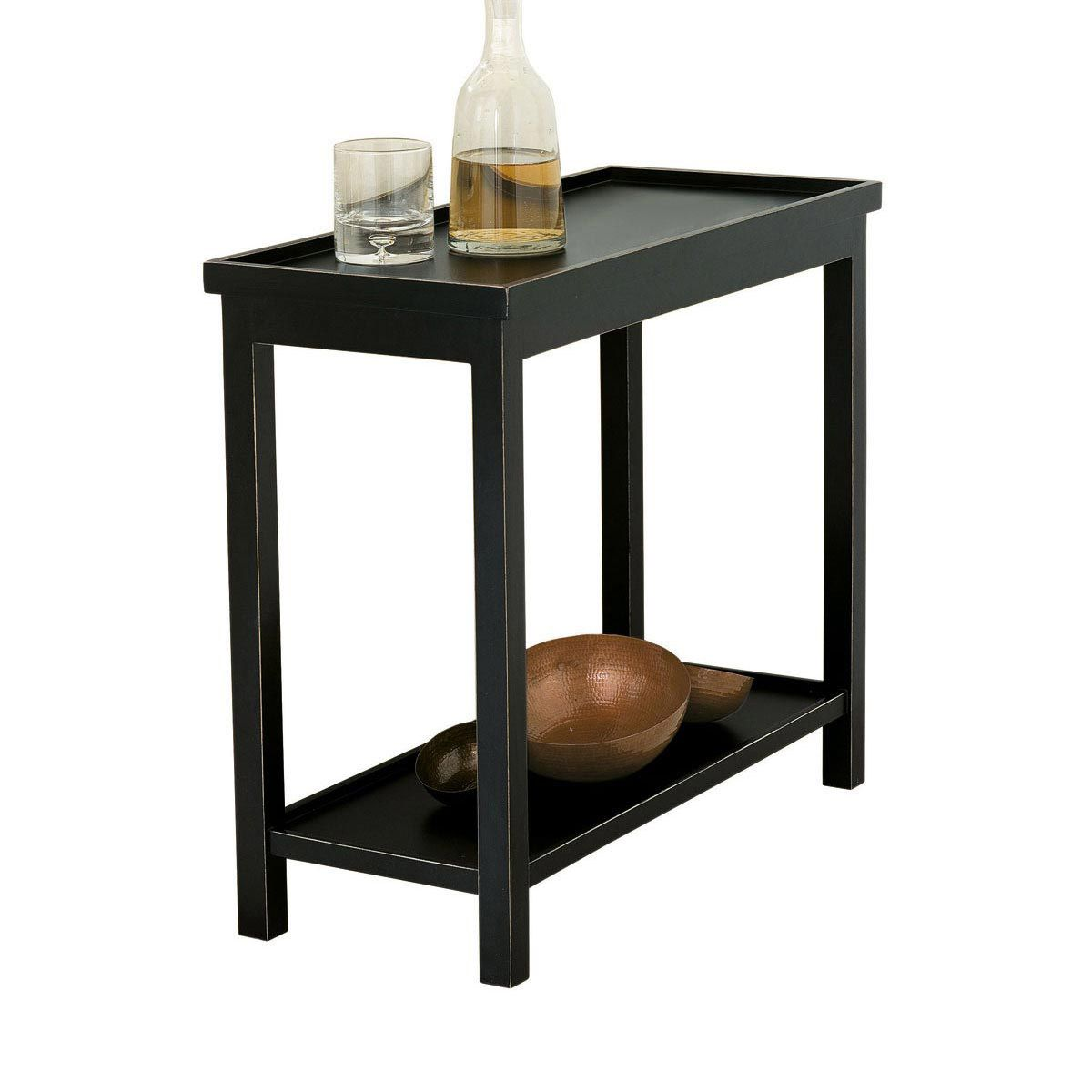 Narrow Jet Side Table Rubbed Black In 2020 Wooden Side Table Black Side Table Narrow Side Table