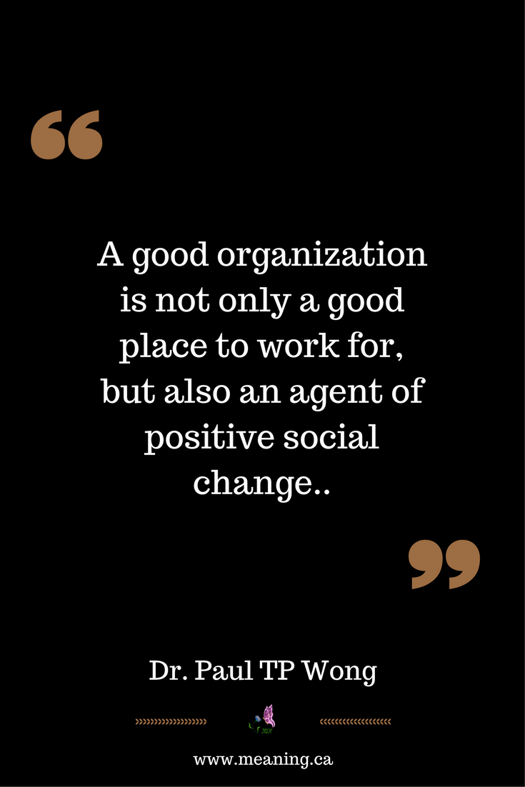 What Makes A Good Organization Good Work The Meaning Centered Approach Mca Http Www Drpaulwong Com Go Meant To Be Best Places To Work Positive Psychology
