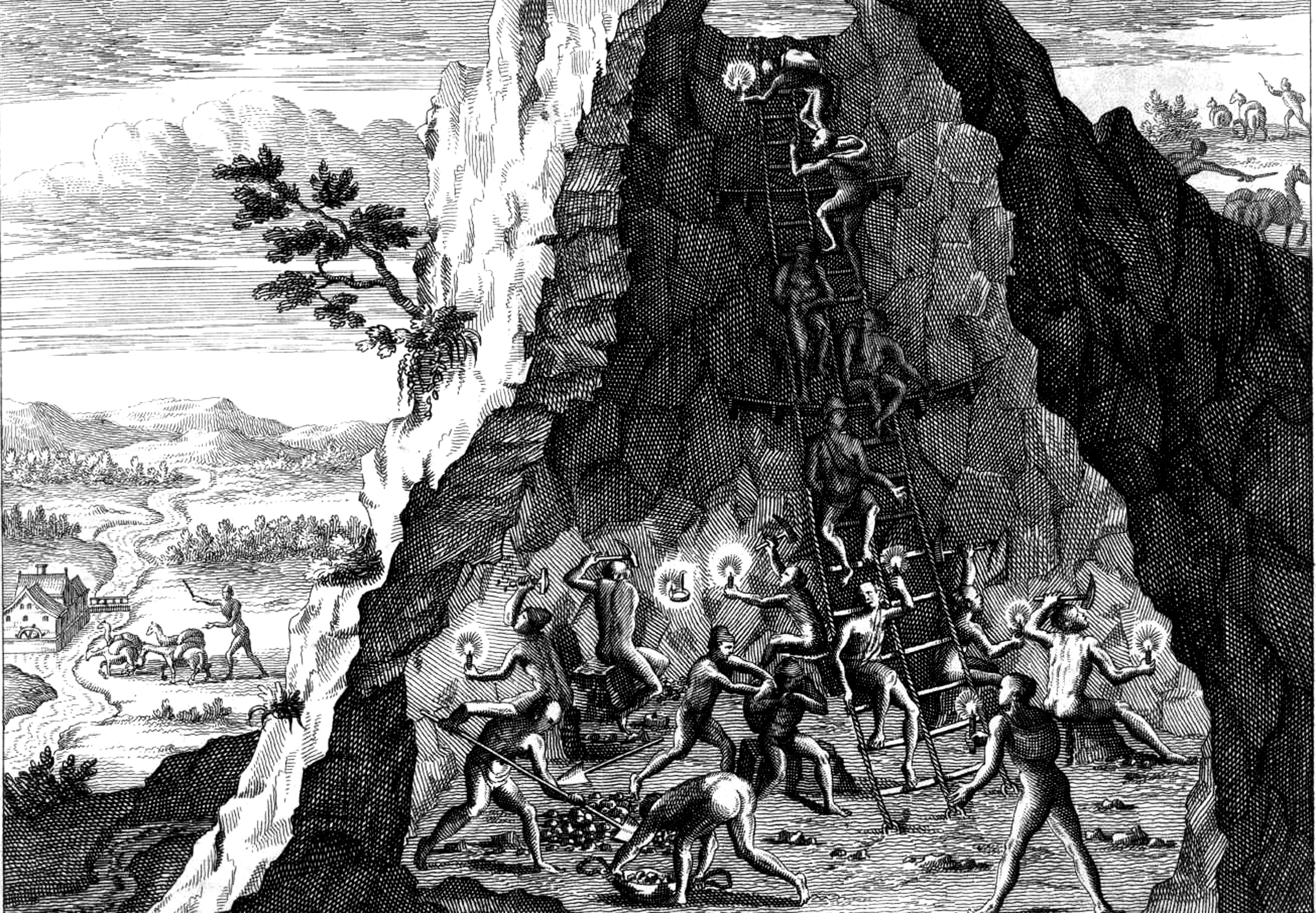 Indian Miners At Potosi 1590 By Theodor De Bry Detail