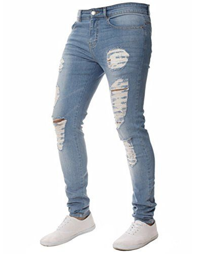12a3074221a XARAZA Mens Stretchy Ripped Skinny Biker Jeans Slim Fit Denim Pants With  Destroyed Hole  jeans  pants  fashion  mens  menfashion