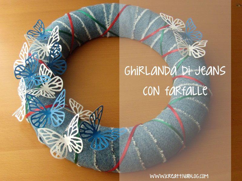 Photo of Ghirlanda primaverile di jeans con farfalle