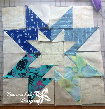 Rising Star Quilt Block Made With Fabric Scraps Star Quilt Blocks