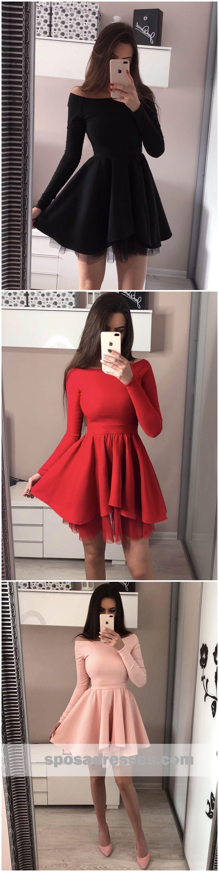 Long sleeves off shoulder short cheap homecoming dresses online