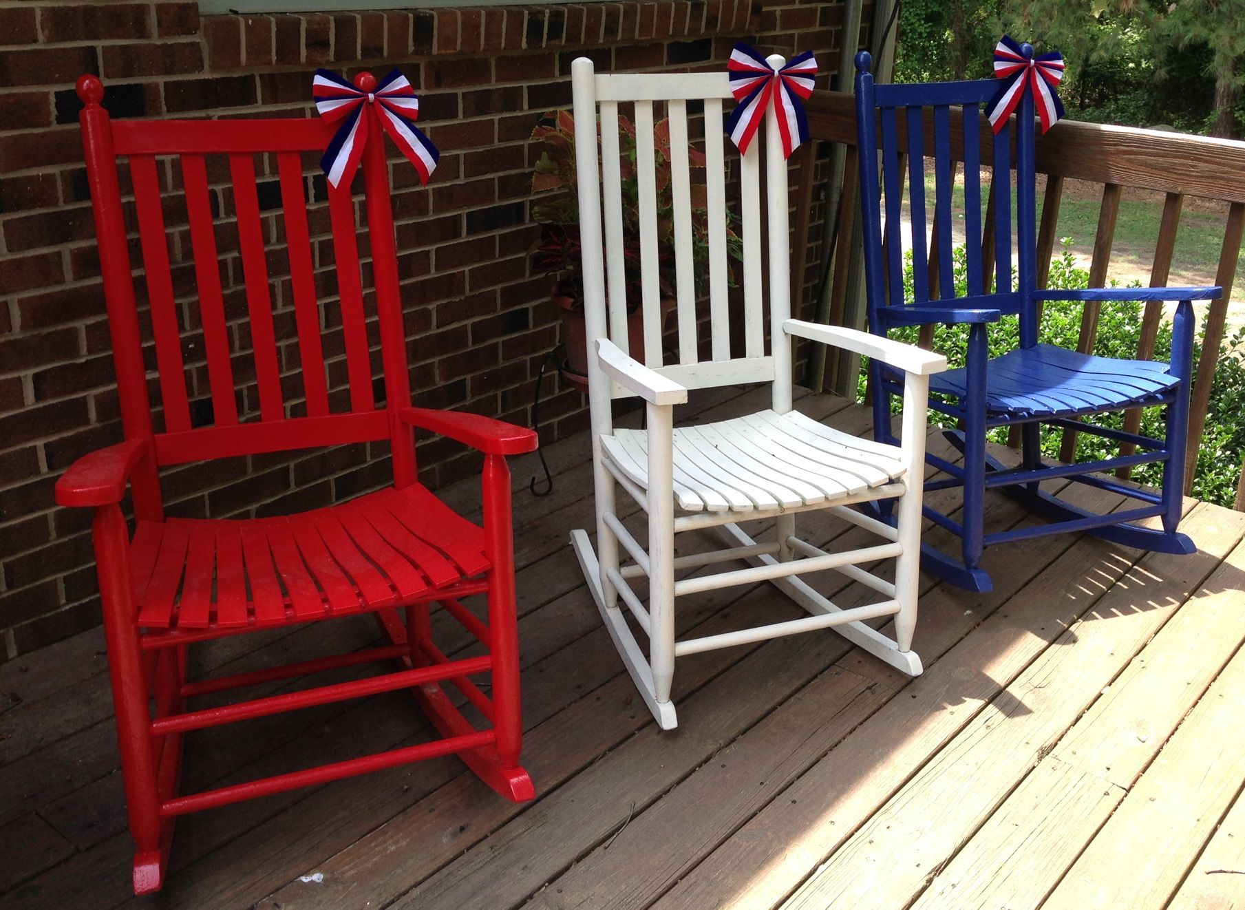 Prime Red White And Blue Rocking Chairs For The Fourth Of July Ocoug Best Dining Table And Chair Ideas Images Ocougorg