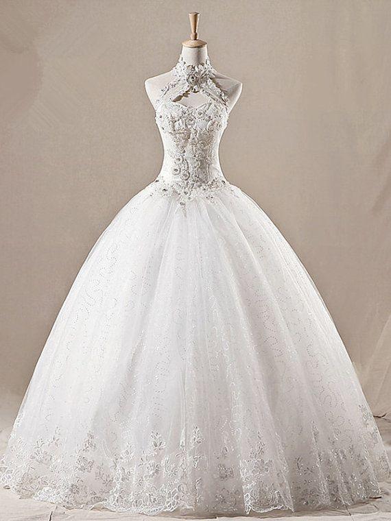 Vintage Halter Spitze Organza Kirche Hochzeitskleid Brautkleid ...