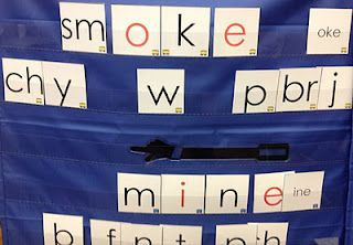 "Student version of ""Making Words"" with the silent e pattern.  The hand pointer is used to help decode the word.  They use the pointer, touch the e, reach over the consonant, and say, ""Say your name, "" then sound out the word.  I coded the cards by their spelling pattern (ake, ine, etc.) with a different color of train, so the children can sort the cards if they get mixed up in the pocket chart.  No more asking you what cards go where.  Just say, ""Sort the cards by their train colors and…"