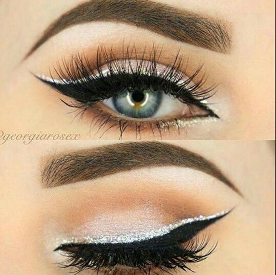 Photo of Eyeliner double black and silver, eyelashes –  #black #double #eyelashes #eyeliner #silver