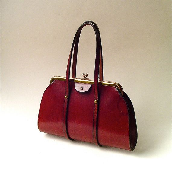 Mid Century Vintage Etienne Aigner Oxblood Leather Handbag