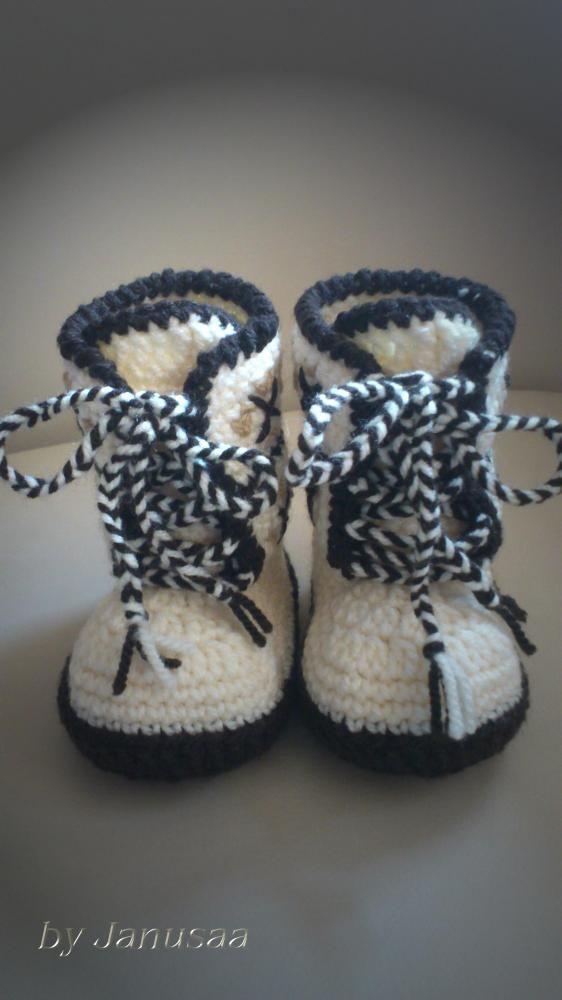 Topánočky - Háčkované čižmičky - šnurovacie hnedé - 2902520