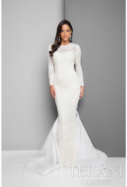 Terani Evening - Beaded Long Sleeve Mermaid Evening Gown 1711GL3516 at CoutureCandy #affiliatelink