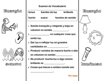 Energia Luminosa Y Energia Sonora Plegable Spanish Foldable Sound Energy Vocabulary Fun Activities