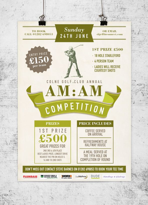 Golf Competition Poster Studio Doodle Graphic Design In Colne Burnley Clitheroe Lanca Poster Design Inspiration Freelance Graphic Design Poster Design