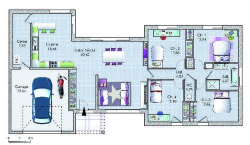 Un vaste plain-pied original Construction, Swimming pools and Tiny - plan de maison rectangulaire plain pied
