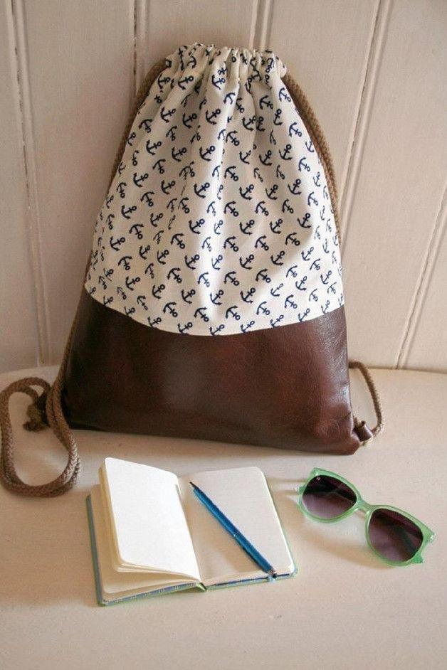 turnbeutel rucksack ankerliebe mit echtleder ein designerst ck von zausepeter bei dawanda. Black Bedroom Furniture Sets. Home Design Ideas