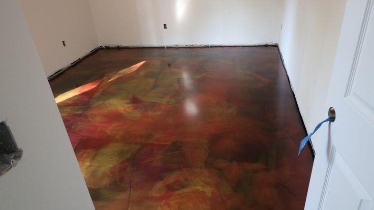 Breathtaking Epoxy Metal Floor Our Customers Chose A Red And Gold For Breat Breat Breathtaking Chose In 2020 Epoxy Floor Metallic Epoxy Floor Concrete Decor