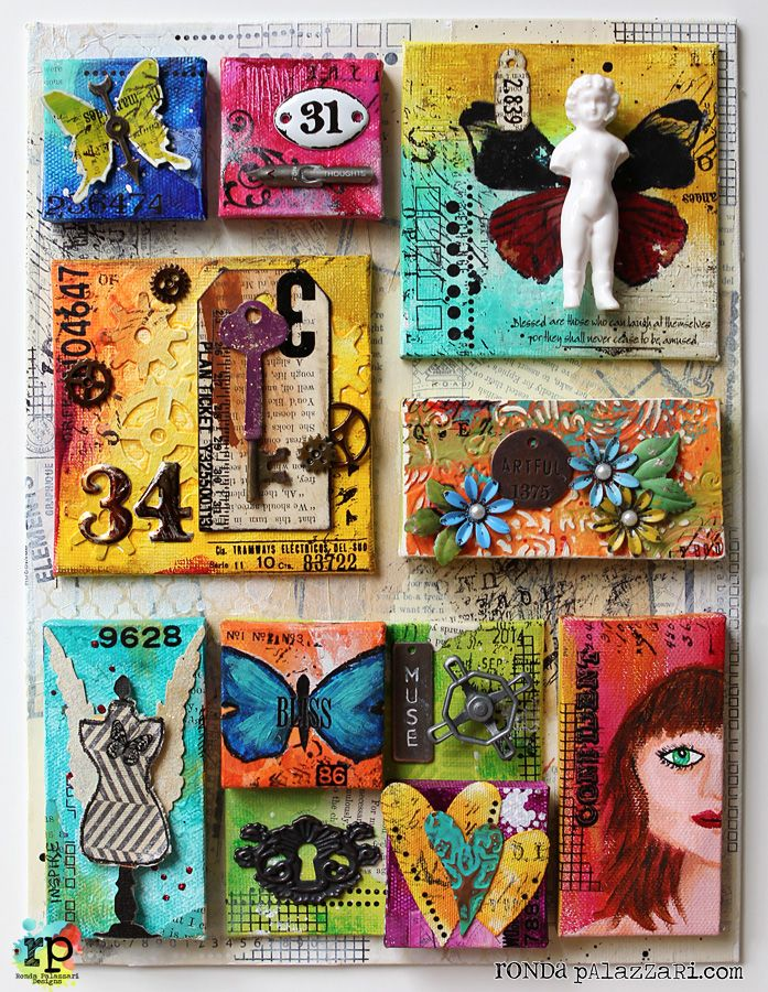 Altered Art Canvas Rhonda Palazzari Mini Canvas Art