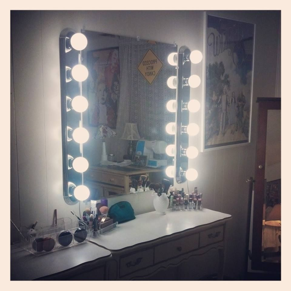 Diy Bathroom Lighting Ideas With Original Images: My DIY Hollywood Vanity! For Only $160 At Home Depot =) 1. 36x30 Borderless Mirror $30 2. 1/8