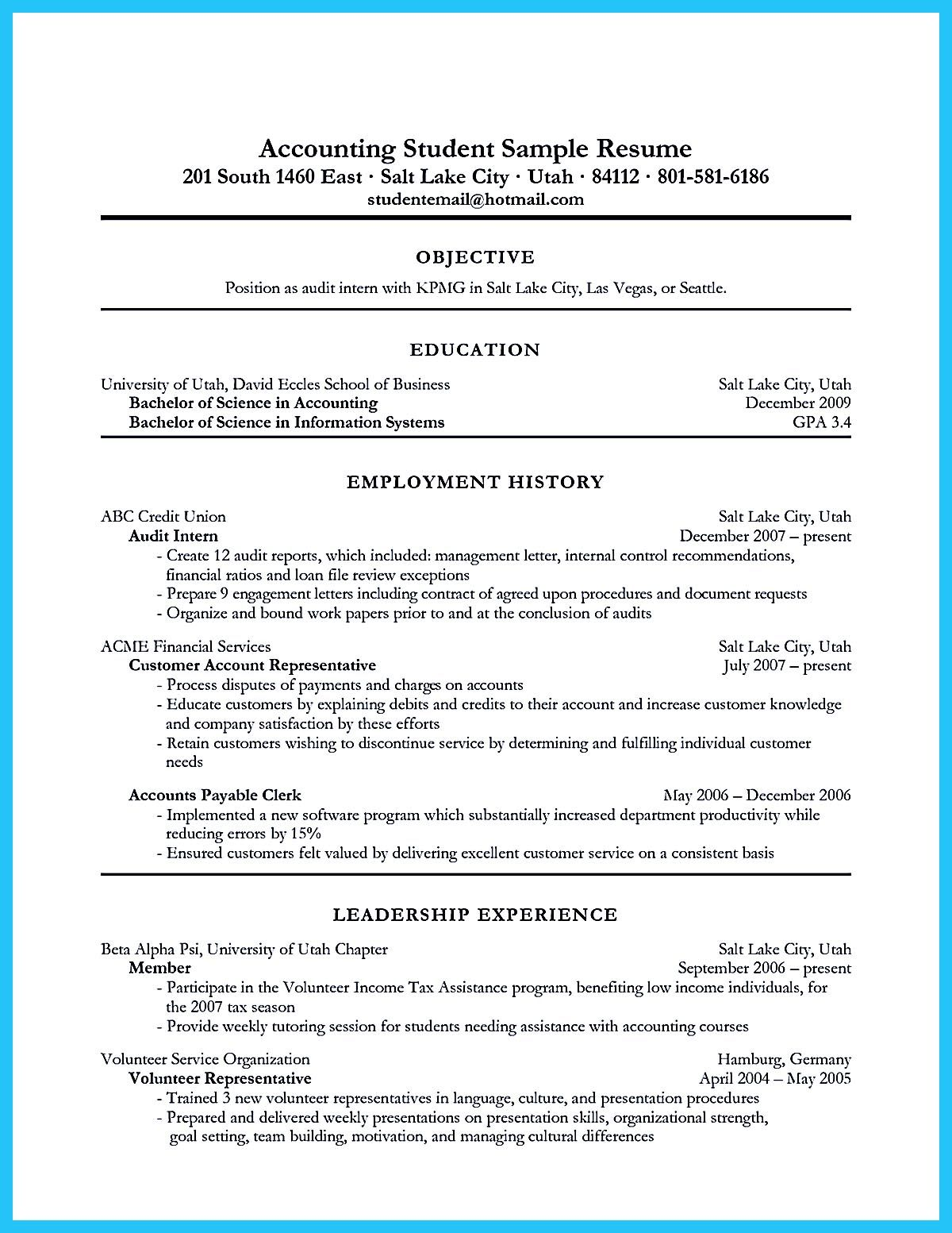 Accounting Student Resume Here Presents How The Resume Of Accounting Student  Clearly Made. The Accounting  Accounting Student Resume