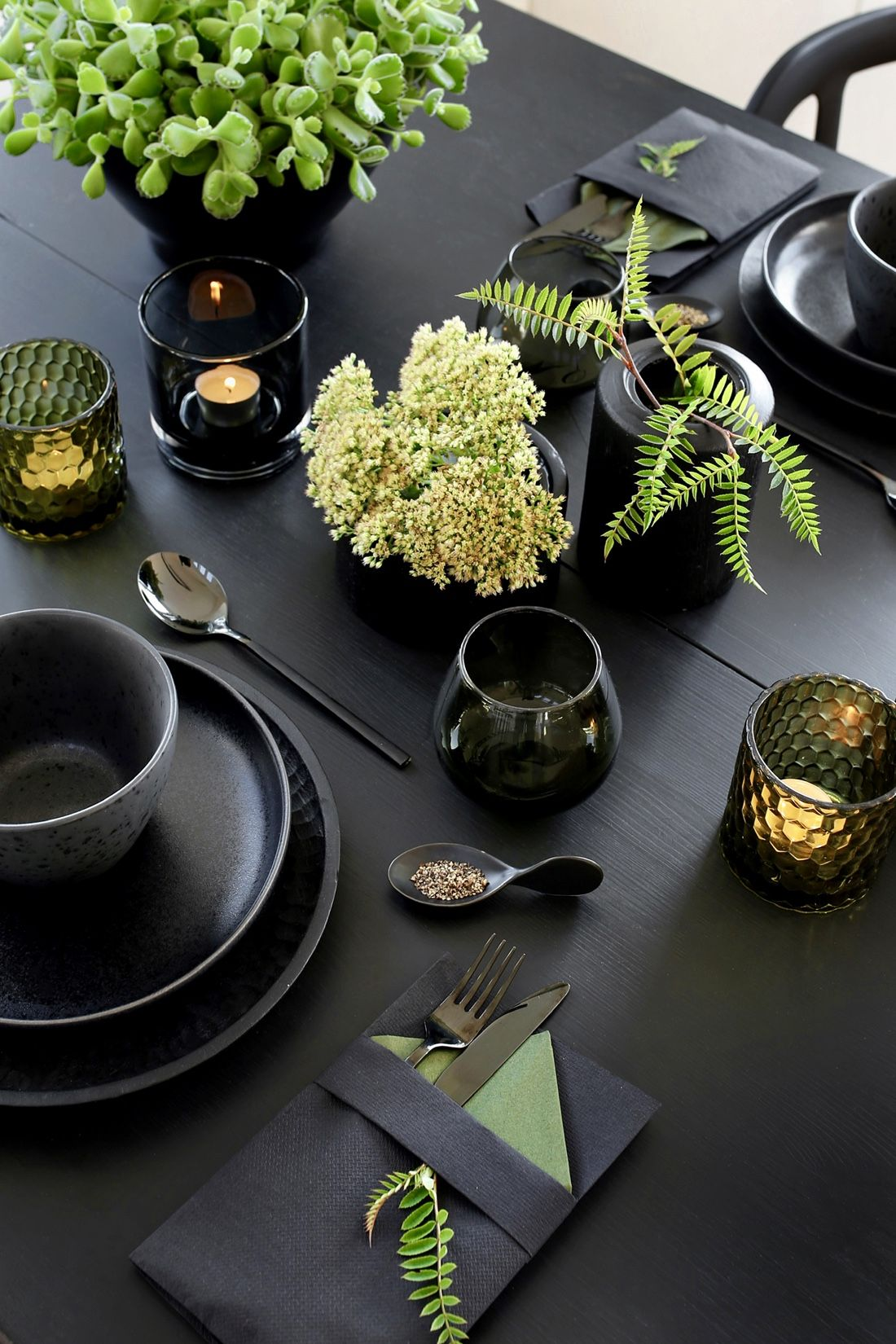 ... style it: black on black with organic green touches | modern table