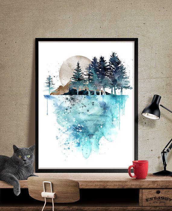 Nature Wall Art, Tree Painting , Landscape Paintings Print ...