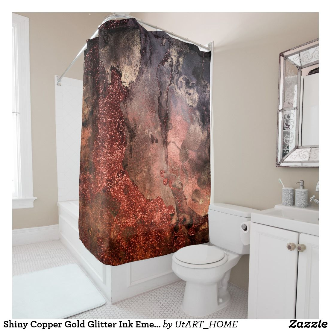 Ombre terracotta copper sparkle shiny glitter shower curtain This ...