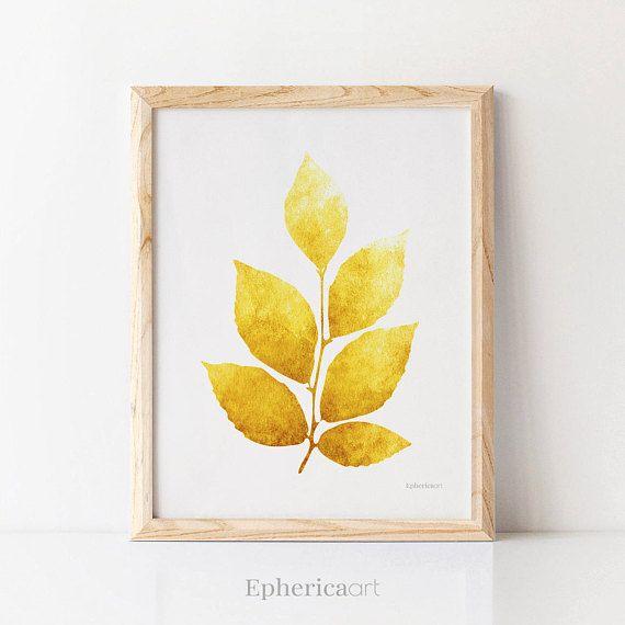 Wall art download, Yellow Leaves artwork Kitchen wall art Botanical ...