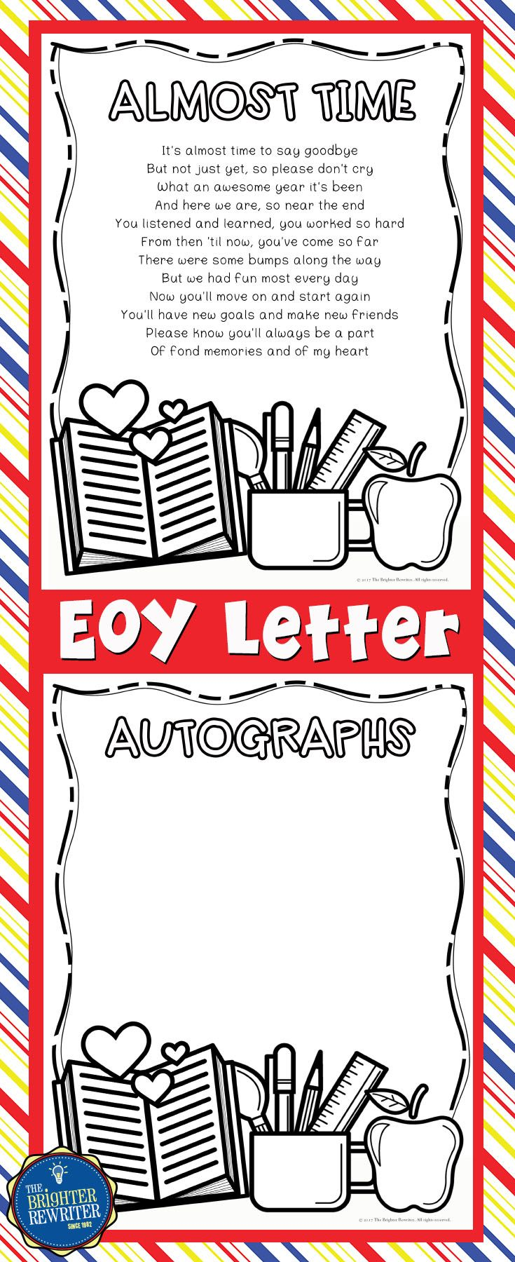 Goodbye Letters With Autograph Pages  Poem Students And School