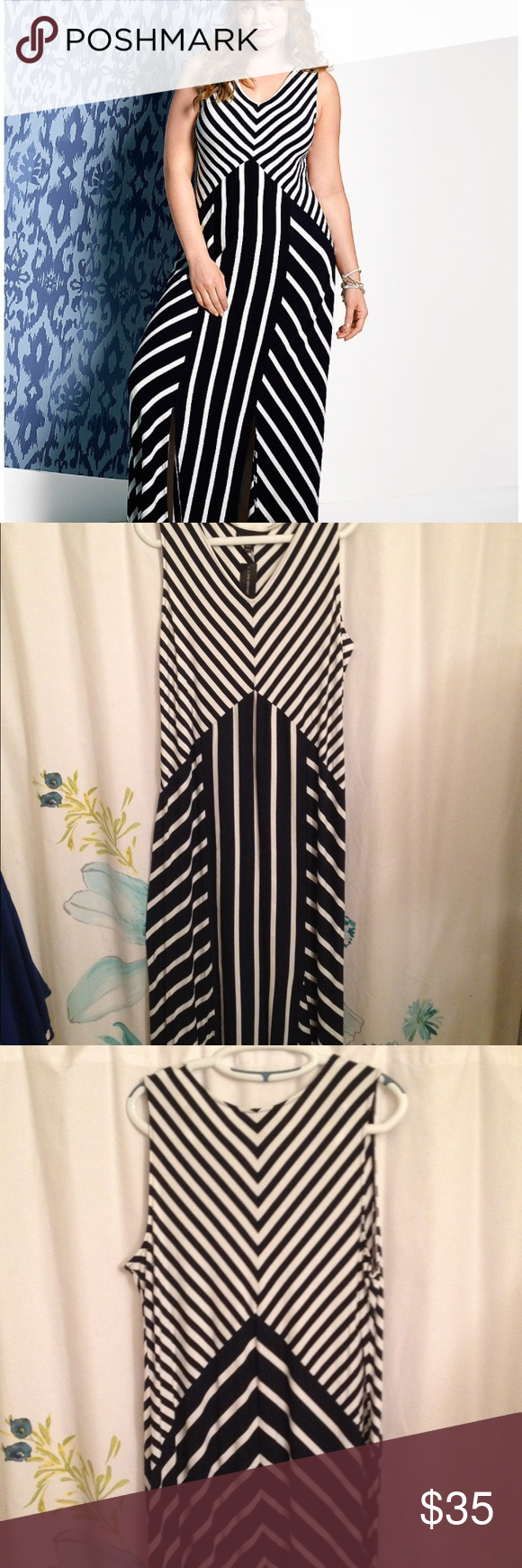 Spliced striped maxi dress
