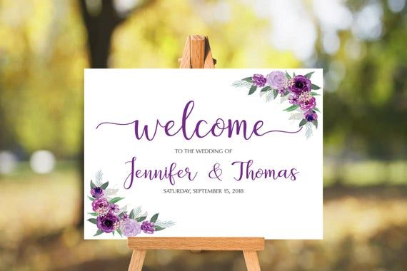 Purple Floral Wedding Welcome Sign - 16x20 & 24x36 EDITABLE - Instant Download - Welcome Sign Floral - Editable PDF #weddingwelcomesign