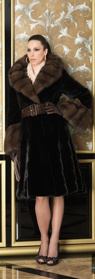 Blackglama Mink Fur Coat with Barguzine Sable Fur Trim