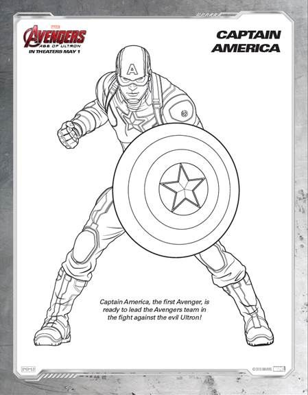 Free Avengers Age Of Ultron Printable Coloring Sheets Captain