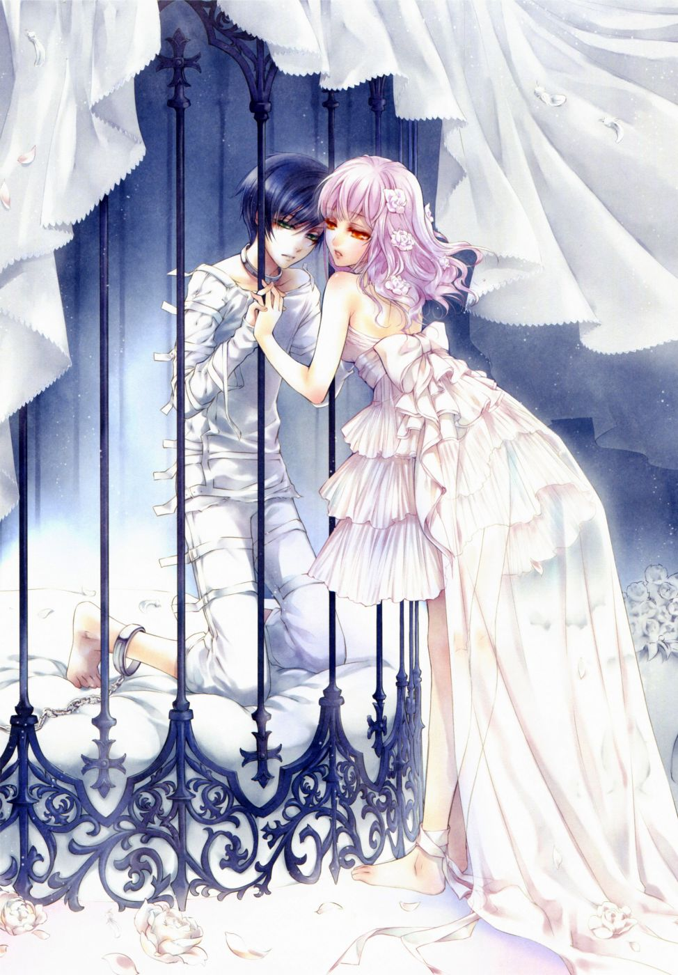 Anime couple love rose flower dress white cage prisoner