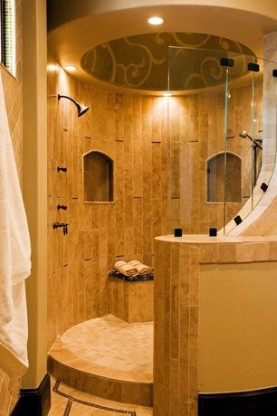 Mediterranean Master Bathroom With Dulles Glass And Mirror, Custom Shower  Designs., Arizona Tile