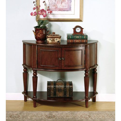 Coaster Furniture Brown Entry Table With Curved Front And Inlay