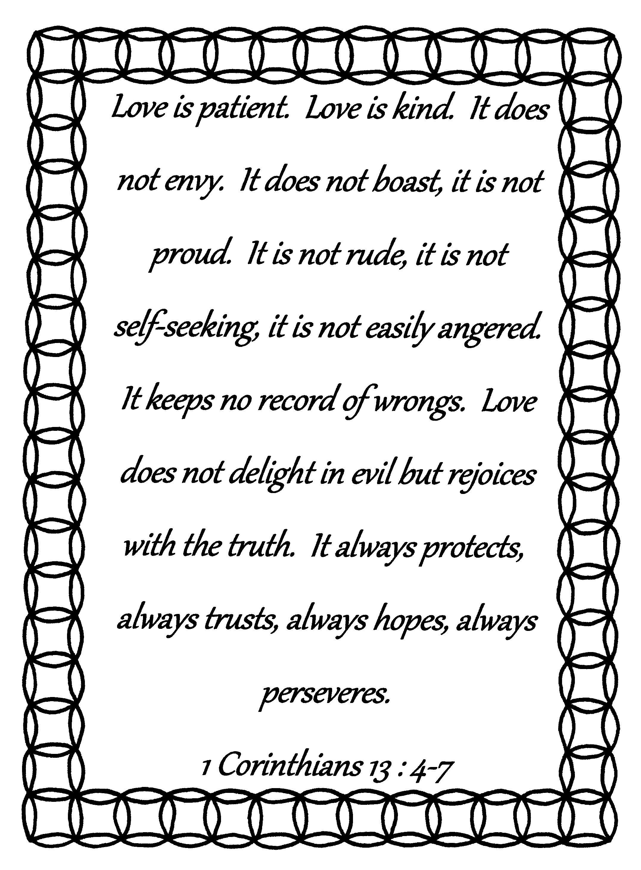 1 Corinthians 13 4 8 Coloring Pages
