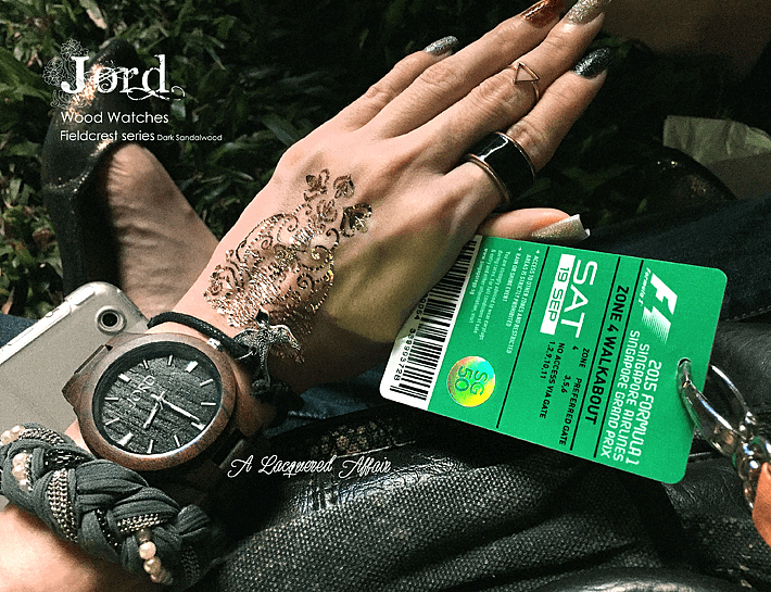 At the #Singapore Grand Prix Formula 1 to, ironically, catch #Maroon5 in concert. NOTD and OOTD with @JORD Wood Watches Fieldcrest in Dark Sandalwood. More stuff and photos on my blog review: http://www.alacqueredaffair.com/Jord-Wood-Watch-Floral-Cogs-Mani-38551780  #F1 #jordwatch #nails
