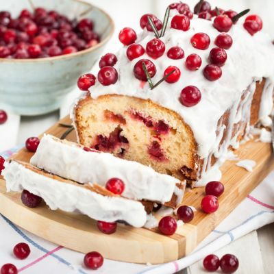 Bursting Cranberry Vanilla Almond Cake