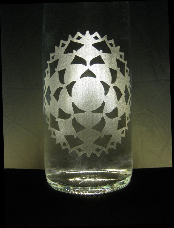 Etched Glass Water Bottle  Crown Chakra by H2OmBottleworks on Etsy, $30.00