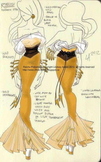 6422b09d Lindsay Aspen, Pokemon Inspired Dress (Raichu) Reminds me of a mermaid gown  <3