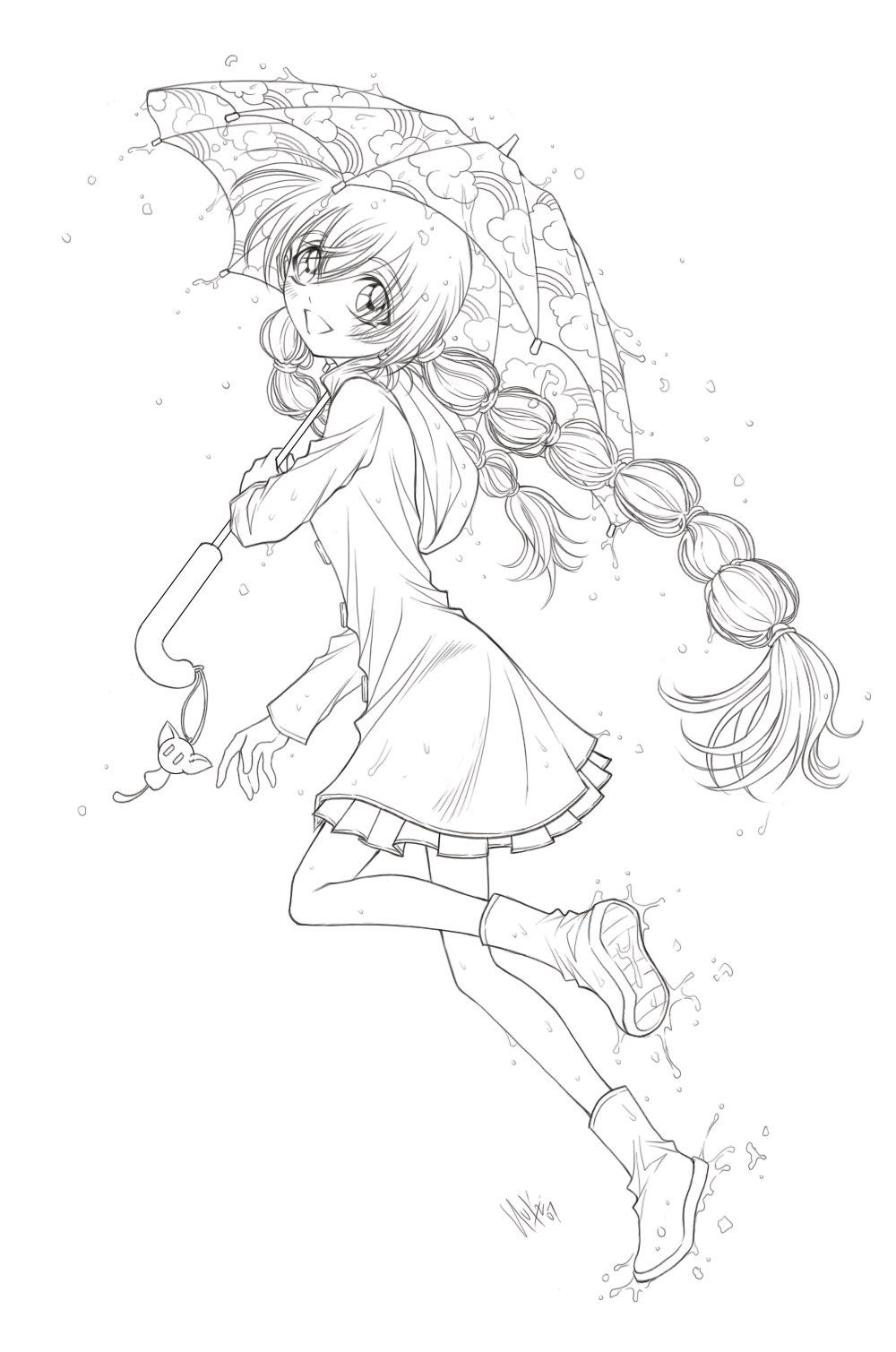 Umbrella Girl Lineart Coloring Pages Coloring Books Cute Coloring Pages [ 1509 x 1000 Pixel ]