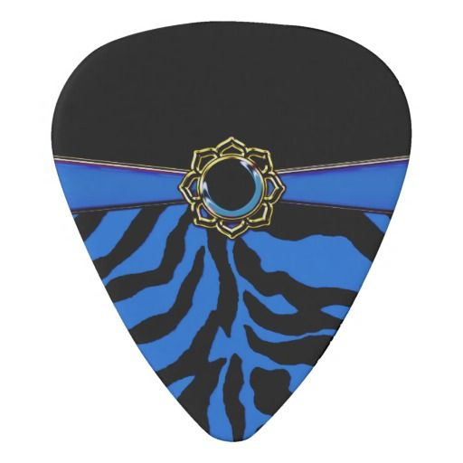 Jeweled Royal Blue Zebra Custom Guitar Pick