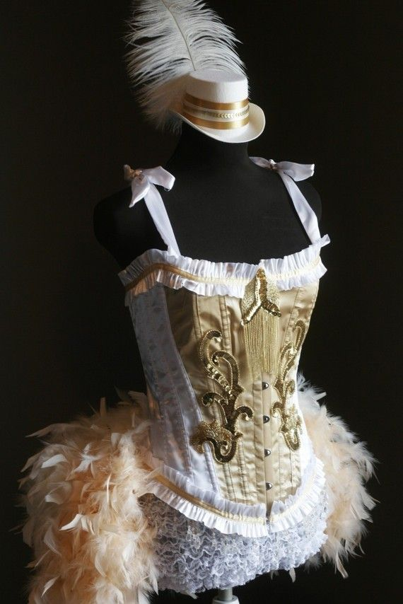 OLYMPIAN White Gold Burlesque Corset Costume FEATURED by olgaitaly, $165.00